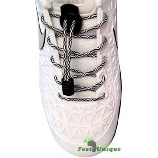 Elastische zwart & witte schoenveters met sluitsysteem
