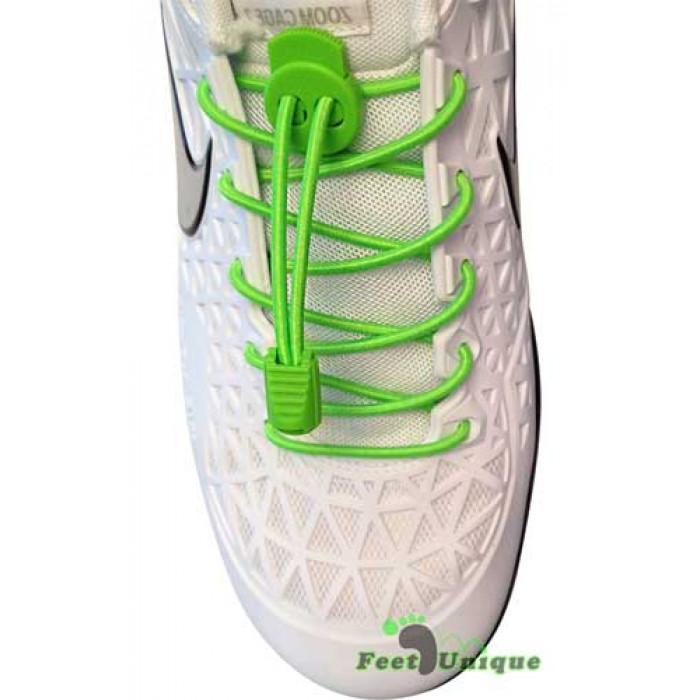 Elastische fluoriserend groene schoenveters met sluitsysteem