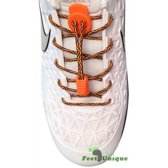 Elastische zwart & fluo oranje schoenveters met sluitsysteem