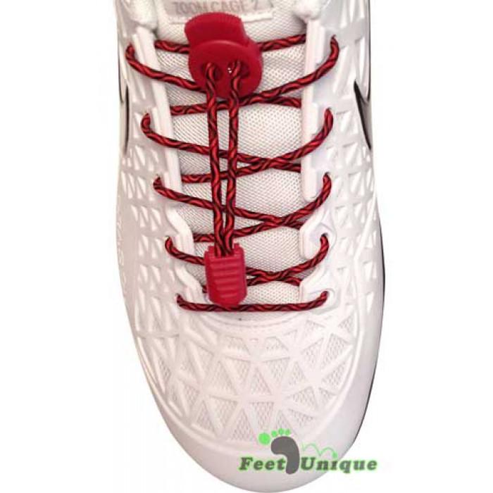 Elastische zwart & rode schoenveters met sluitsysteem