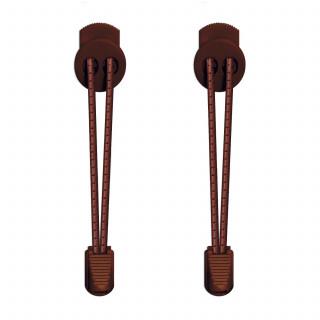 Gestreepte donkerbruine schoenveters met sluitsysteem