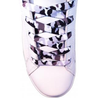 Schoenveters - 10mm  Wit, grijs en zwart camo