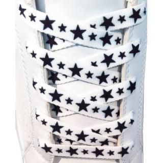 Schoenveters - 10mm Wit met zwarte sterren
