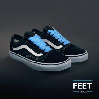 Extra brede lichtblauwe schoenveters