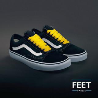 Extra brede gele schoenveters