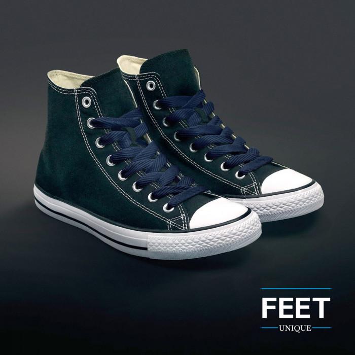 Extra brede donkerblauwe schoenveters
