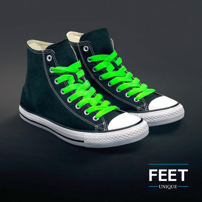 Extra brede fluo groene schoenveters