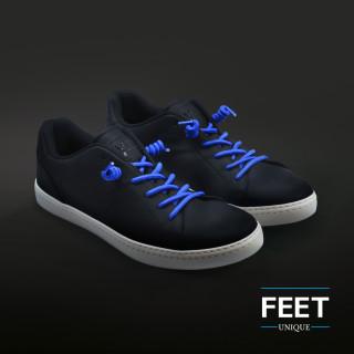 Blauwe spiraal schoenveters