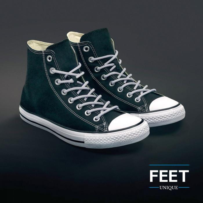 Ronde lichtgrijze schoenveters