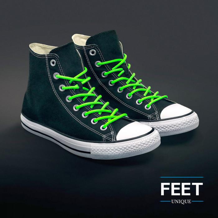 Ronde fluo groene schoenveters