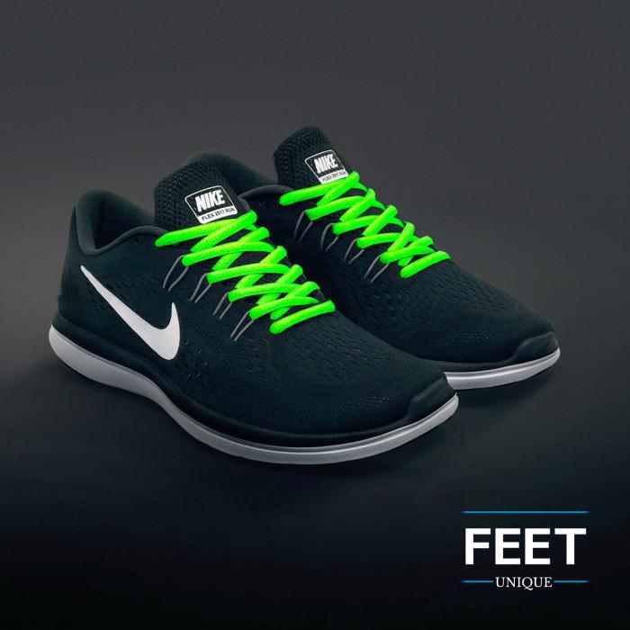 Ovale fluo groene schoenveters