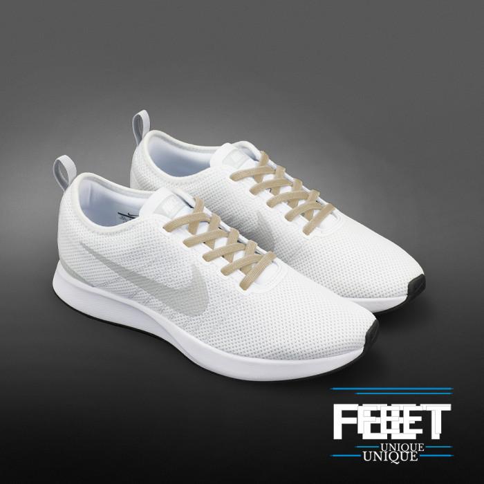Elastische platte lichtbruine schoenveters (zonder strik)