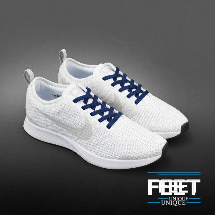 Elastische platte marineblauwe schoenveters (zonder strik)