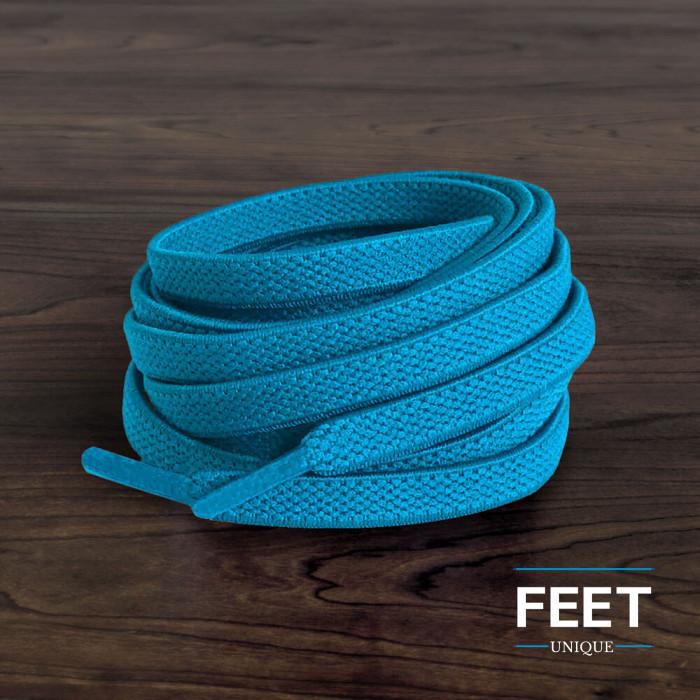 Elastische platte turquoise schoenveters (zonder strik)