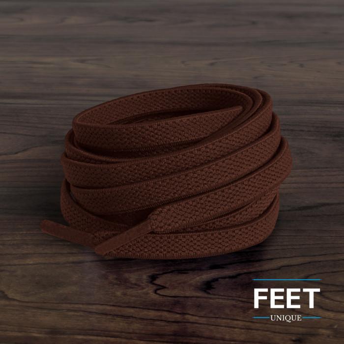 Elastische platte donkerbruine schoenveters (zonder strik)