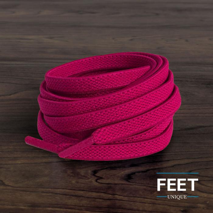 Elastische platte hot pink schoenveters (zonder strik)