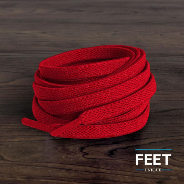 Elastische platte rode schoenveters (zonder strik)