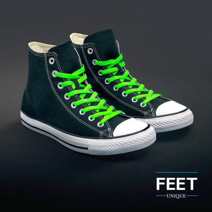 Platte fluoriserend groene schoenveters