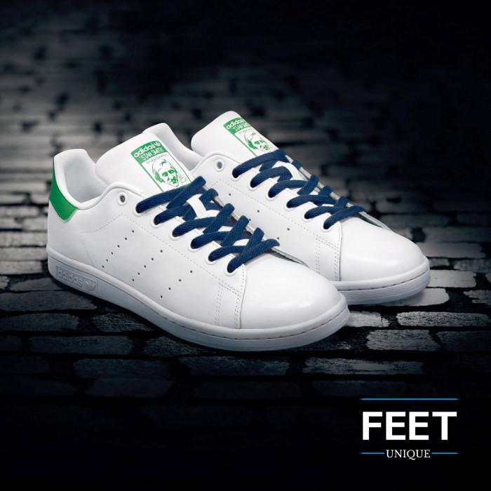 Platte donkerblauwe schoenveters
